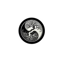 White Yin Yang Tree with Black Back Mini Button (1