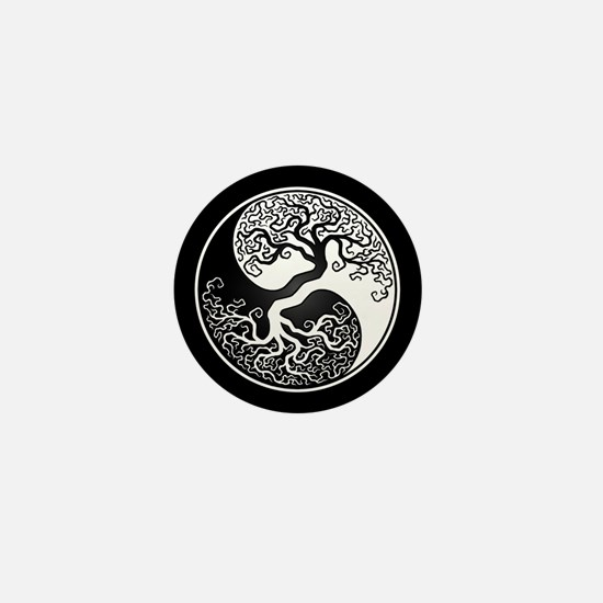 White Yin Yang Tree with Black Back Mini Button