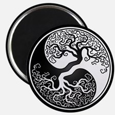White Yin Yang Tree with Black Back Magnets