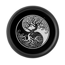 White Yin Yang Tree with Black Back Large Wall Clo
