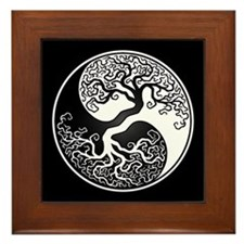 White Yin Yang Tree with Black Back Framed Tile