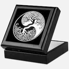 White Yin Yang Tree with Black Back Keepsake Box