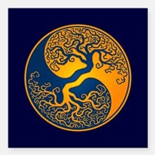 Yellow and Blue Yin Yang Tree Square Car Magnet 3""