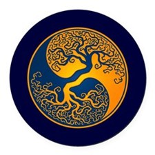 Yellow and Blue Yin Yang Tree Round Car Magnet