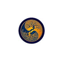 Yellow and Blue Yin Yang Tree Mini Button