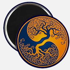 Yellow and Blue Yin Yang Tree Magnets