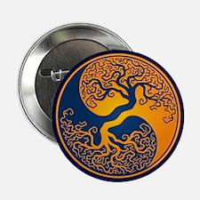 "Yellow and Blue Yin Yang Tree 2.25"" Button"