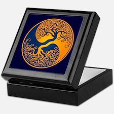 Yellow and Blue Yin Yang Tree Keepsake Box
