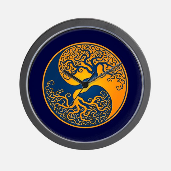 Yellow and Blue Yin Yang Tree Wall Clock