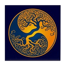Yellow and Blue Yin Yang Tree Tile Coaster