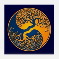 Yellow and Blue Yin Yang Tree Tile Coaster