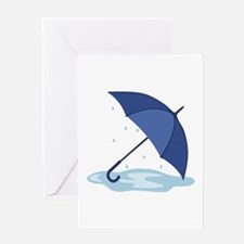 Umbrella Rain Puddle Greeting Cards