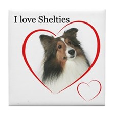 Sheltie Love Tile Coaster