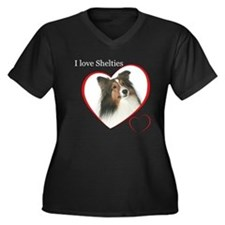 Sheltie Love Women's Plus Size V-Neck Dark T-Shirt