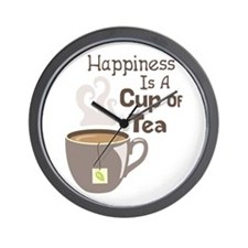 Happiness Is A Cup Of Tea Wall Clock
