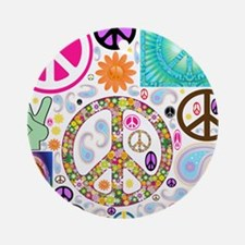 Peace Paisley Collage Ornament (Round)