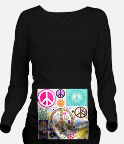 Peace Paisley Collage Long Sleeve Maternity T-Shir