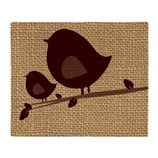Birds painting on canvas Throw Blanket