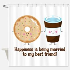 Coffee and Donut Married BF Shower Curtain