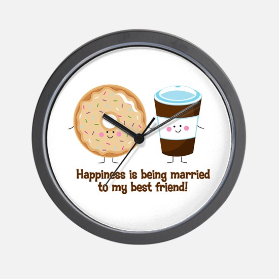 Coffee and Donut Married BF Wall Clock
