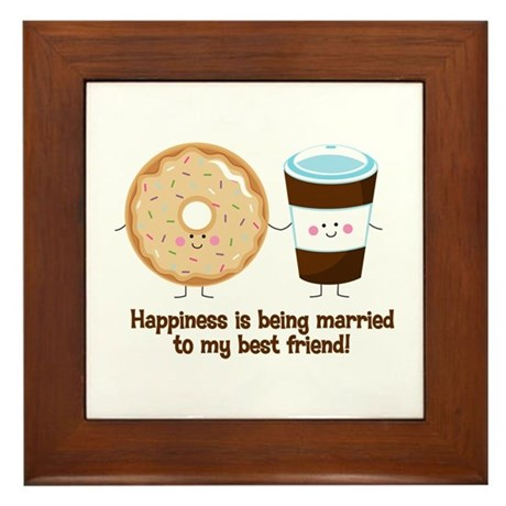 Coffee and Donut Married BF Framed Tile