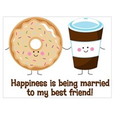 Coffee and Donut Married BF Wall Art Poster