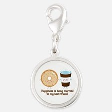 Coffee and Donut Married BF Silver Round Charm