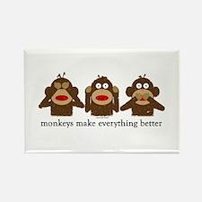 3 Wise Sock Monkeys Magnets