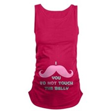 Mustache Don't Touch Belly Maternity Tank Top