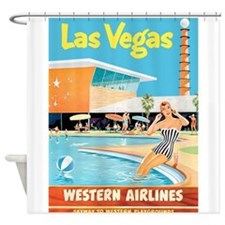 Las Vegas, Travel, Vintage Poster Shower Curtain