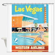 Las Vegas, Travel, Vintage Poster Shower Curtain