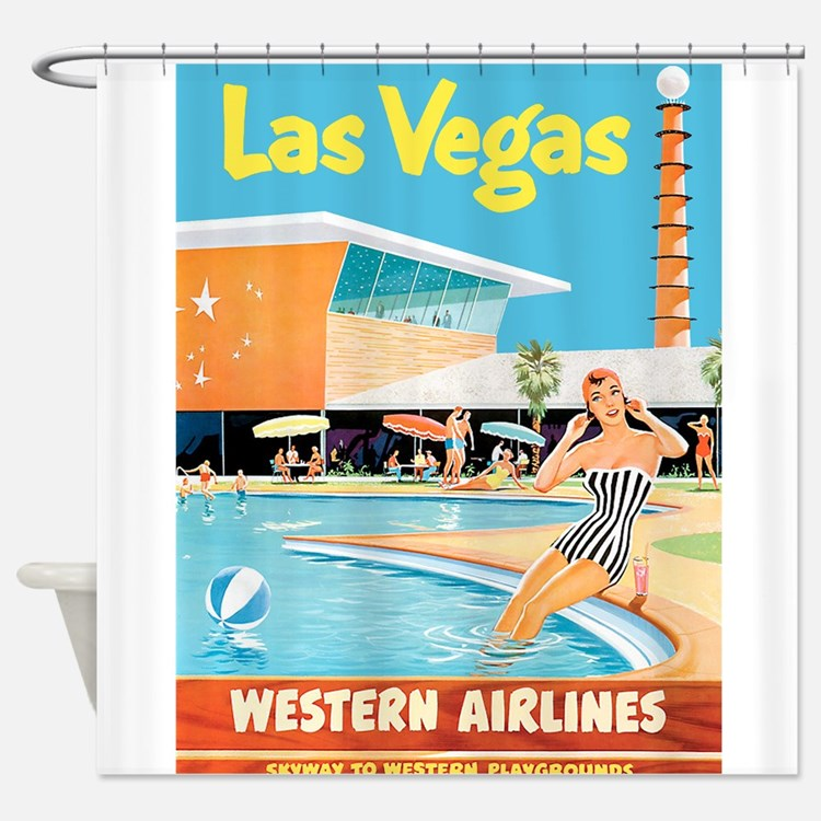 las vegas travel vintage poster shower curtain