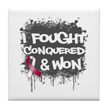Throat Cancer Fought Won Tile Coaster