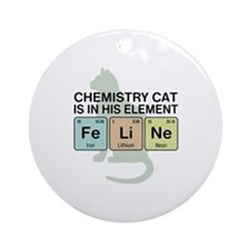 Chemistry Cat Ornament (Round)