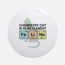 Chemistry Cat Ornament (Round)