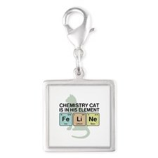 Chemistry Cat Silver Square Charm