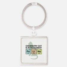 Chemistry Cat Square Keychain