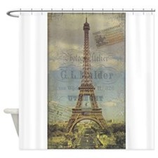Eiffel Tower, French, Vintage Poster Shower Curtai