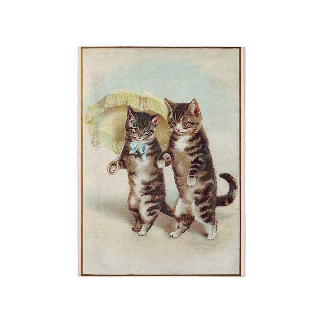 Cats, Parasol, Vintage Poster 5'X7'area Rug By Vintagevivian
