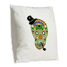 Irish Sugar Skull Burlap Throw Pillow