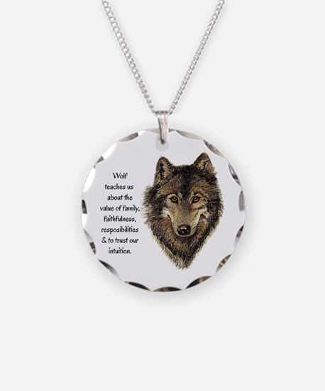 Wolf Totem Animal Guide Watercolor Nature Art Neck