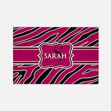 Monogram Pink, Black Animal Print Rectangle Magnet