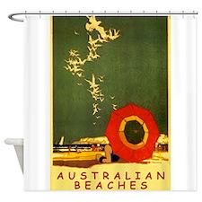 Australia Beach, Travel, Vintage Poster Shower Cur