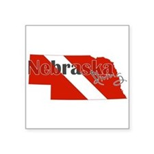 "Nebraska Diver Square Sticker 3"" x 3"""