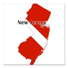 "New Jersey Diver Square Car Magnet 3"" x 3"""