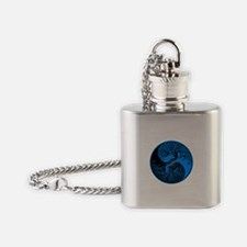 Blue and Black Yin Yang Tree Flask Necklace