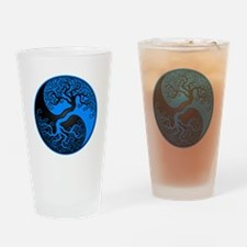 Blue and Black Yin Yang Tree Drinking Glass