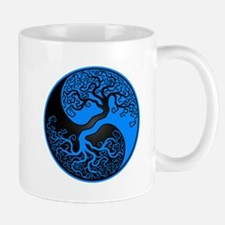 Blue and Black Yin Yang Tree Mugs