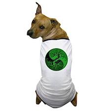 Green and Black Yin Yang Tree Dog T-Shirt