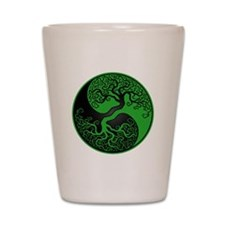 Green and Black Yin Yang Tree Shot Glass